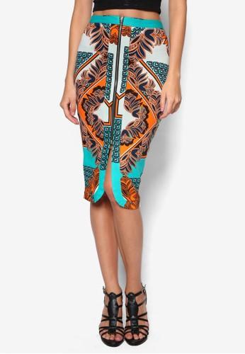 拉鍊前zalora時尚購物網評價開衩印花鉛筆裙, 服飾, 服飾
