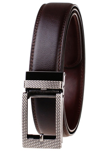 FANYU brown Leather Dress Belt With Automatic Buckle belt 1A7B7AC4528EC9GS_1