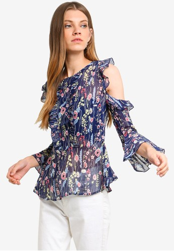 Brave Soul navy Cold Shoulder Printed Blouse B867FAAD03151BGS_1