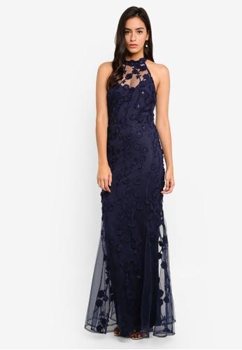 Goddiva navy Halter Neck Tulle Embroidered Maxi Dress ECD9EAA6205F99GS_1