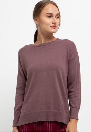 Button On purple Asymmetric Slit Cotton Sweater F6124AA7DD19B6GS_1