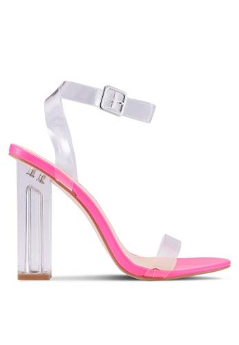 Public Desire 粉紅色 透明繞帶粗跟鞋 5953BSHF549456GS_1