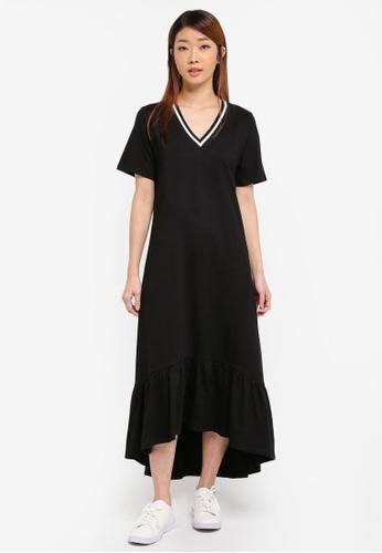 Something Borrowed black Stripe Sleeve Midi Dress 6870DAA830B235GS_1