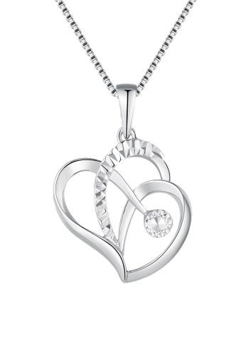 MaBelle silver 14K/585 White Color Gold Hearts Pendant Necklace E0DC9ACB470438GS_1
