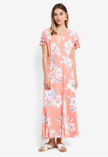 7adc93eaf16 French Connection pink Cari Crepe S/S V Nk Midi Dress AD0C5AA19F5104GS_1