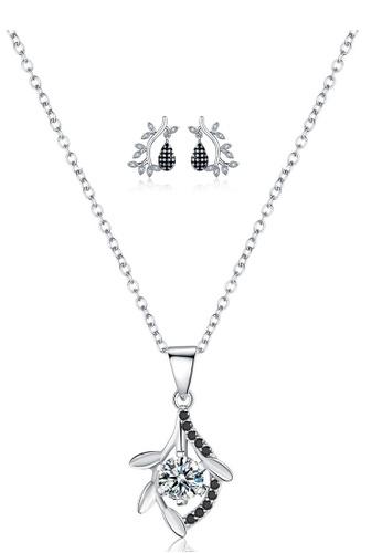A-Excellence white Premium Elegant White Sliver Necklace Earring Set 6CE83AC8B21818GS_1
