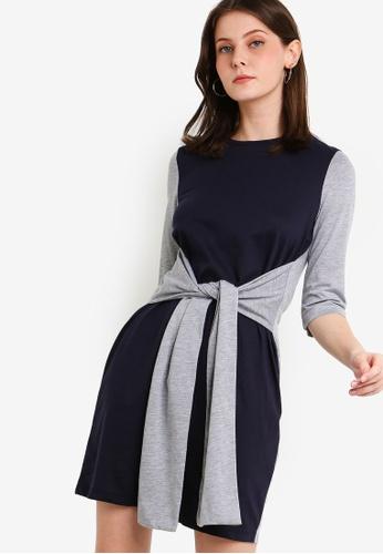 ZALORA grey Tie Detail Long Sleeves Tee Dress B0894AA9E3EC14GS_1