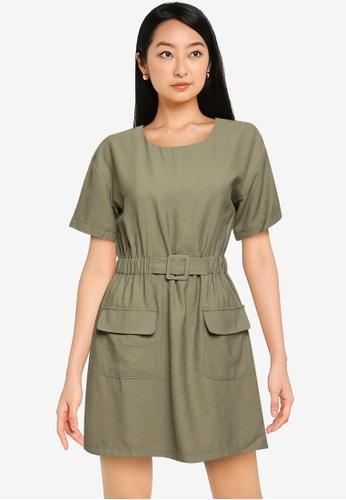 ZALORA BASICS green Double Pocket Dress With Belt 06A71AAAFF9017GS_1