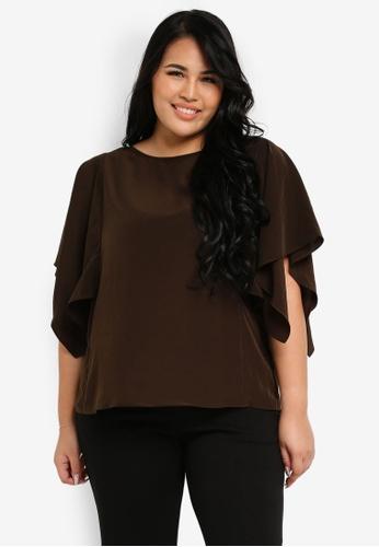Ex'otico brown Plus Size Short Sleeve Blouse EX373AA0SL7ZMY_1
