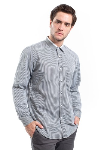 MANLY grey MANLY Lansvale Grey Slim Fit Striped Shirt Long Sleeve Striped 475F7AAD4909C4GS_1