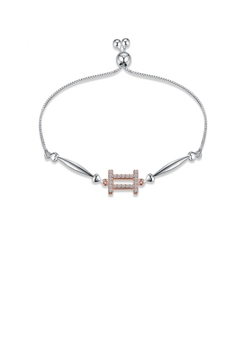 Glamorousky white 925 Sterling Silver Simple Elegant Fashion Constellation Zodiac -Gemini and Heart Shape Bracelet with Cubic Zircon 298FBAC8733948GS_1