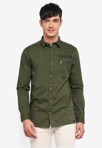 Only & Sons green Tyler Pocket Detail Shirt 50E2DAAD40B363GS_1