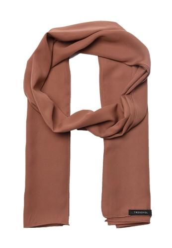 Trendyol brown Brown Silky Scarf 34451AA739FAD7GS_1