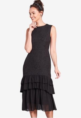 Nichii 黑色 Sleeveless Brocade Tiered Hem Dress 256D4AAE8C3C48GS_1