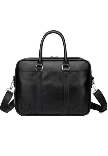 Lara black Plain Zipper Briefcase With Cross Body Strap - Black A42BBACE45FC30GS_1