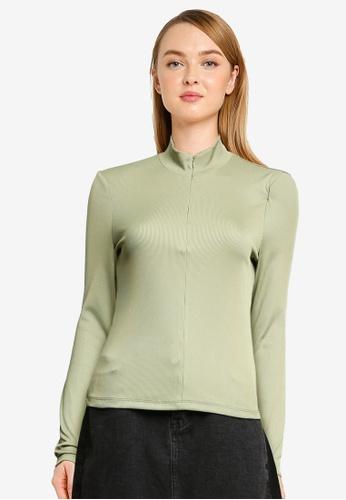Vero Moda 綠色 Lacey Rib Long Sleeve Zip Top 789FCAAEDB3FDDGS_1