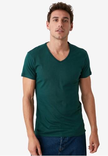Trendyol green Basic V Neck Slim Fit T-Shirt 396F4AABBF2AD4GS_1