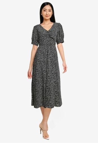 Heather navy Print Midi Dress 6C06EAAF0B3776GS_1