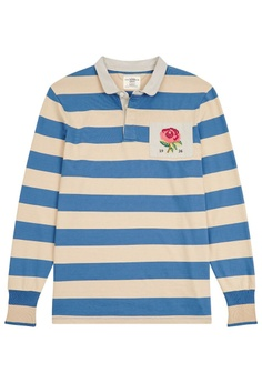 49789b430 Kent and Curwen navy Rose Patch Striped Polo Shirt 374D5AA95B1E16GS 1