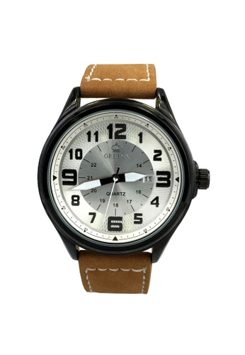 Chronomart black and brown and silver Orkina Round Dial Outdoor Leather Strap Watch CH783AC05VIWPH_1
