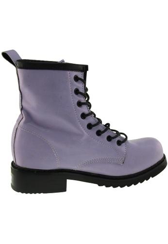 Maxstar purple Maxstar Women's 303 Lace Up Mid Calf PU Combat Boots US Women Size MA164SH79QSESG_1