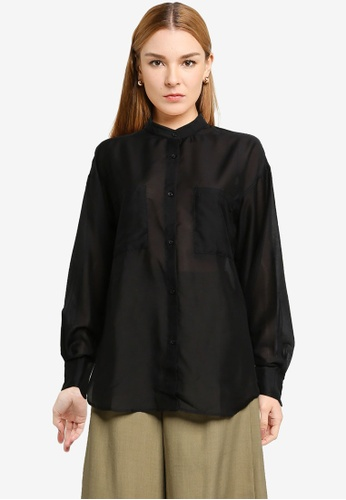 LOWRYS FARM black Oversized Sheer Shirt 03563AA97BC499GS_1