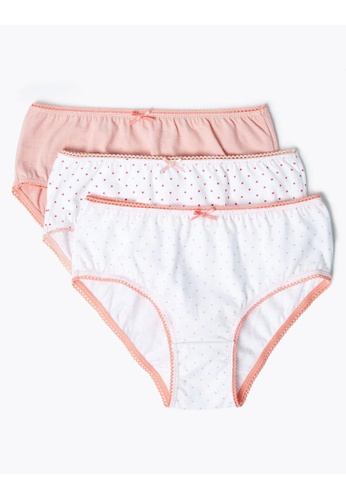MARKS & SPENCER pink M&S 10 Pack Pure Cotton Spotted Knickers (2-16 Years) A06A4KAB7BA23FGS_1