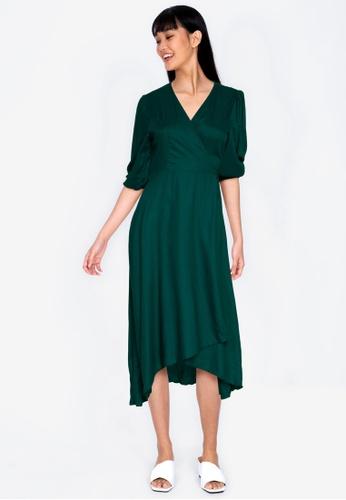 ZALORA BASICS green Wrap Midi Dress 25C73AAF235853GS_1