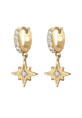 ELLI GERMANY gold Elli Germany Earrings Creole Swarovski Crystals Astro Star Gold Plated 925 Sterling Silver 0B48DACBC82CA4GS_1