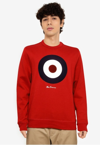Ben Sherman red Flock Target Sweatshirt ED260AA1D33999GS_1