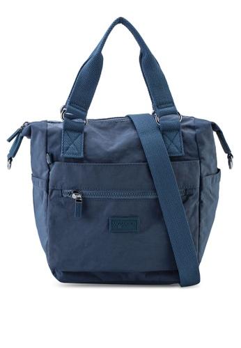 Bagstationz blue Crinkled Nylon Convertible Top Handle Bag 40CB9AC7B533BAGS_1