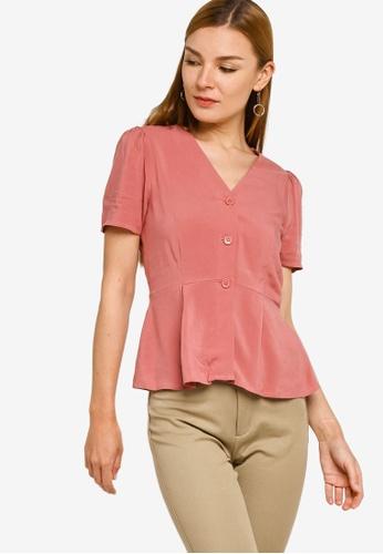 ZALORA WORK pink S/S Button Through Peplum Top 041A9AA27E68B4GS_1