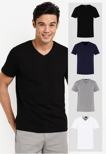 ZALORA black and grey and white and navy 4 Pack Cotton V Neck Short Sleeve Tee ZA919AA0GOXPSG_1