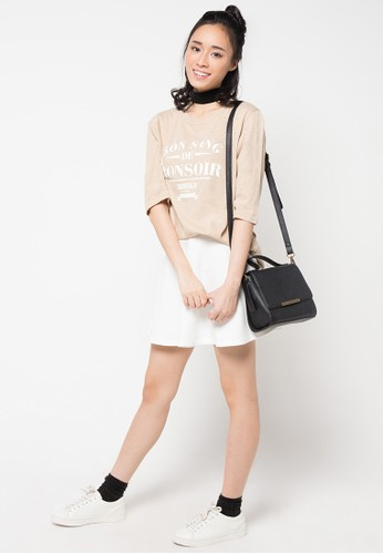 Envy Look white Short Band Flare Skirt EN694AA55CRGID_1