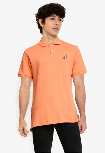 GAP orange Logo Pique Polo Shirt 5C2FAAA222CBC5GS_1