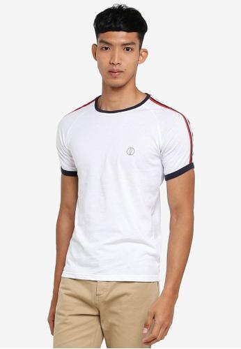 !Solid 白色 短袖條紋滾邊T恤 EDC96AA323357AGS_1