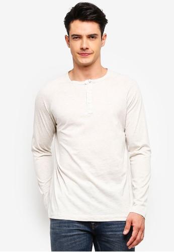 MANGO Man white Henley Cotton T-Shirt 809EAAA0F9F4E3GS_1