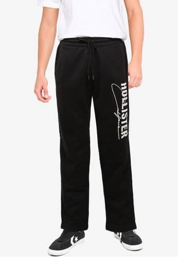Hollister black Straight Leg Tech Logo Sweatpants F514FAA281A22EGS_1