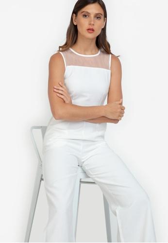 ZALORA WORK white Mesh Detail Jumpsuit E71D7AA836C396GS_1