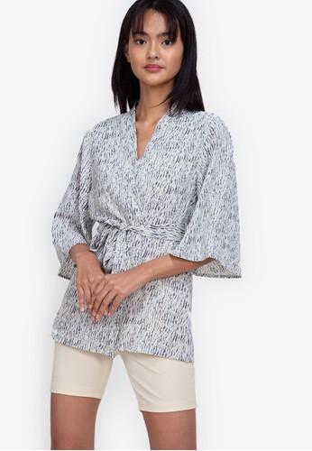 ZALORA BASICS multi ¾ Sleeve Kimono Jacket D513AAA0708F01GS_1