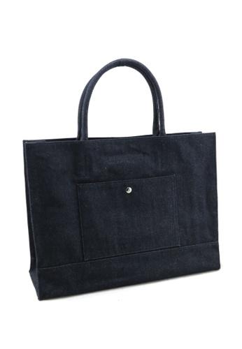 Esther Accessories navy Denim Handle Bag With Removable Pouch ES153AC66RQNHK_1