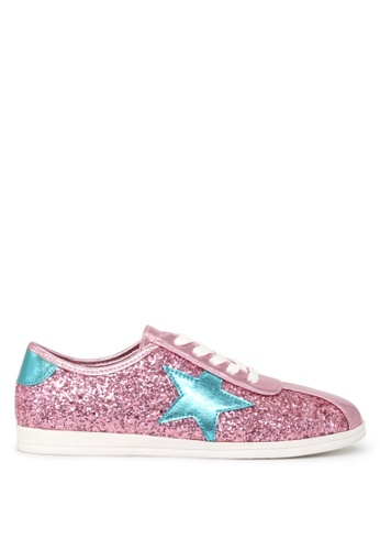 London Rag pink STAR Glitter Lace up Sneakers SH1660 60126SH121A247GS_1