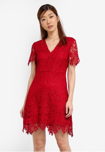 Something Borrowed red Lace V-Neck Fit And Flare Dress BDD25AA8035191GS_1