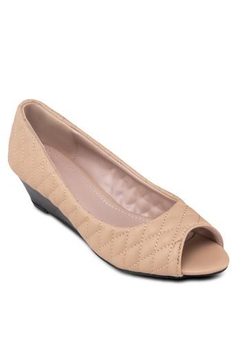 菱格軟襯露趾楔形鞋, 女鞋, 厚zalora開箱底楔形鞋