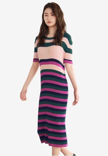 NAIN pink Multi Stripe Knit Dress C9116AA85D1F35GS_1