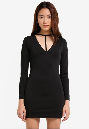 Something Borrowed black Plunge Neck Detail Bodycon Dress 48056AA0054EA5GS_1