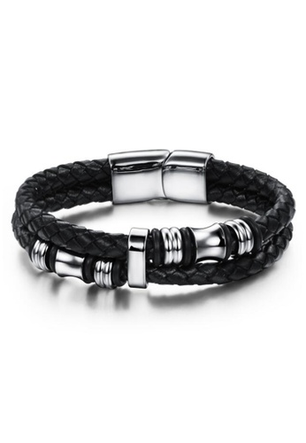 YOUNIQ silver YOUNIQ Duo Titanium Steel Circle Genuine Leather Bracelet for Men (Silver) E1528AC6AF4C91GS_1