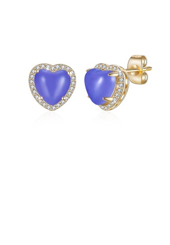 Glamorousky white Simple Plated Champagne Gold Sapphire Heart Stud Earrings with Austrian Element Crystal CABDCAC2A958C5GS_1