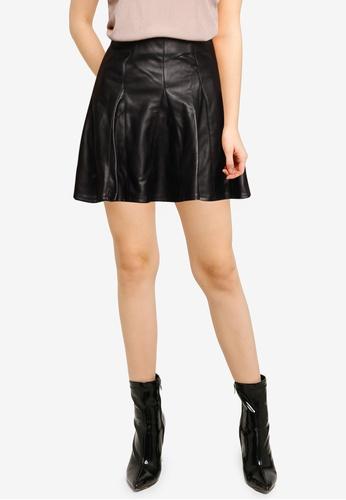 Miss Selfridge black Black Pu Skater Skirt 096C3AAE7B2910GS_1