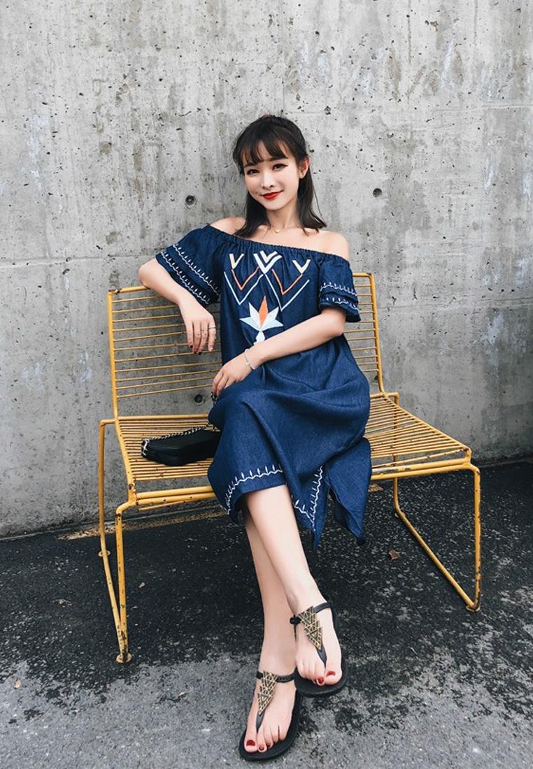 Blue Off A052219BL Sunnydaysweety Shift New Shoulder 2018 Dress One Piece 6BPw4Zxzq